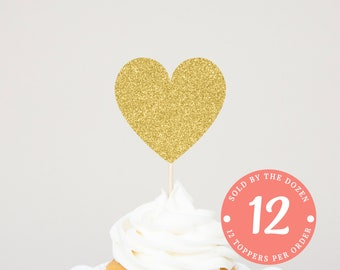 Heart Cupcake Toppers Wedding Topper Gold Birthday Party Bridal Shower Baby Shower Wedding Cupcake Party Skewer Wedding Heart Engagement