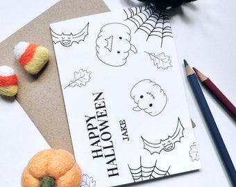 Colour Me In Personalised Halloween Card - A6 Greeting Card