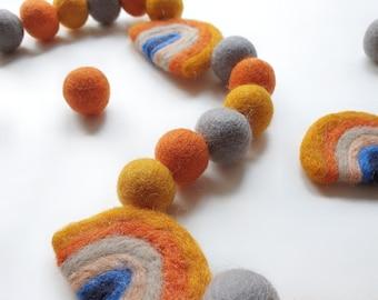 Muted Mustard Rainbow Pom Pom Garland - Felt Ball Nursery Decor
