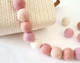 Ombre Pink Rainbow Pom Pom Garland - Felt Ball Nursery Decor
