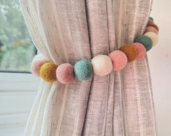 Bloom Pastel Curtain Felt Ball Pom Pom Tie Backs
