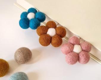 Flower Pom Pom Paperclips - Felt Ball Stationary Bookmarks