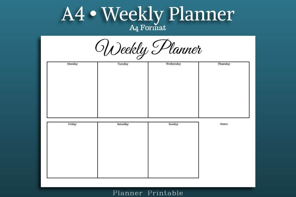 weekly planner template a4 size printable pdf  a4 weekly
