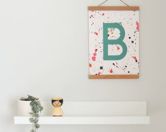 Personalised Kids Print, Custom Name Print, Kids Alphabet Poster, Children's Name Sign, Bedroom Name Poster, Teal Blue Print, Boys Room