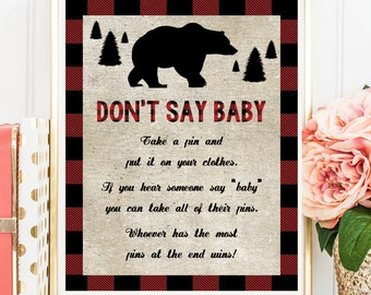 Lumberjack Don't Say Baby Game, Lumberjack Buffalo Plaid Don't Say Baby Sign, Printable Digital File, INSTANT DOWNLOAD