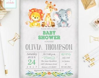Jungle Safari Baby Shower Invitation, Gender Neutral Invitation, Girl, Boy Safari Baby Shower Invite, Printable Baby Shower Invitation