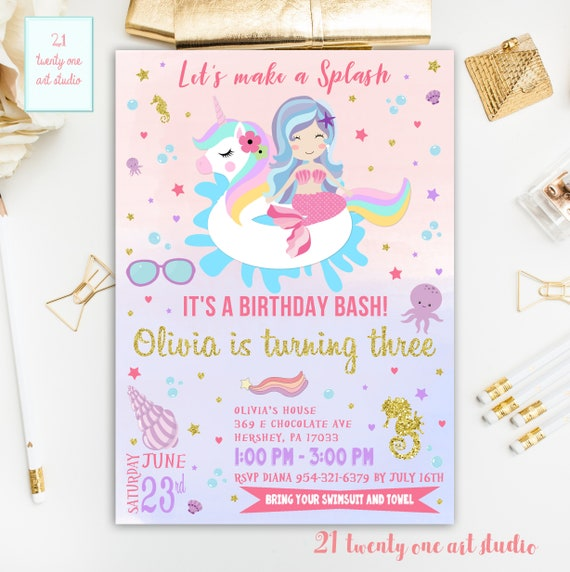 Unicorn Pool Party Invitation And Mermaid Etsy