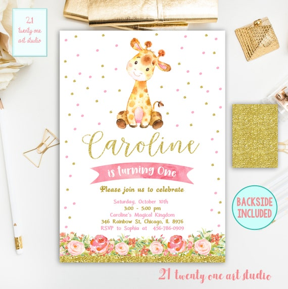 giraffe birthday invitation girl birthday invitation safari etsy
