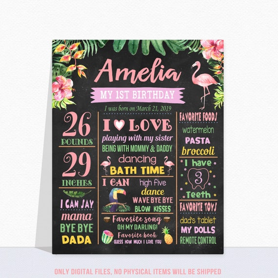 Flamingo 1st Birthday Printable Chalkboard Poster Milestone Stats Sign Photo Prop Hawaiian Pineapple Birthday Party Decor