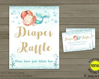 Mermaid Diaper Raffle Sign, Diaper Raffle Tickets, Table Sign 8X10 Printable Mermaid baby shower, Girl baby shower Digital INSTANT DOWNLOAD