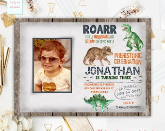 Dinosaur Birthday Invitation, Dinosaur Invitation, Dino Theme Birthday Party, T Rex Invite, Dinosaur Party Invite