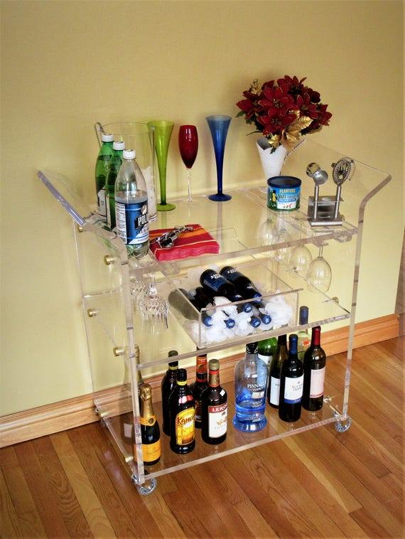 """Page 19 3//4/"""" High Glass and Chrome Rolling Serving Bar Cart"""