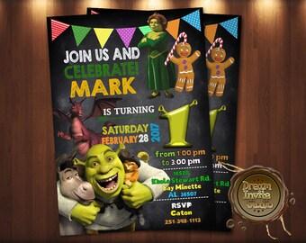Shrek Party Birthday Invitation Invites And Fiona