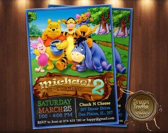 Winnie The Pooh Invitation Winnie The Pooh Birthday Invitation Winnie The Pooh Party Invite Card Winnie The Pooh