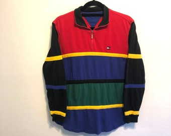 9131eccb5 Vintage 90s Tommy Hilfiger Colorblock 1/4 Zip Long Sleeve Multicolor  Striped Shirt, Vintage Tommy Hilfiger - Size Small
