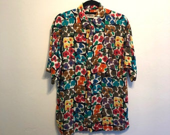 e2961ccc Vintage Floral Abstract Art All Over Print Button Up Rayon Shirt, Vintage  All Over Print Shirt, Vintage Floral Button Up - Size XL
