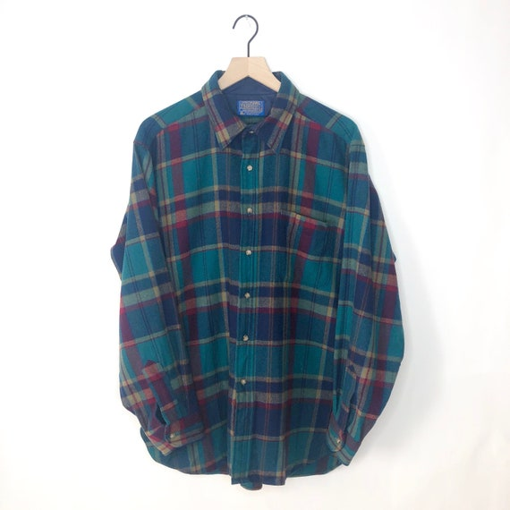 Vintage Pendleton Flannel Shirt 70s Multicolor Pla