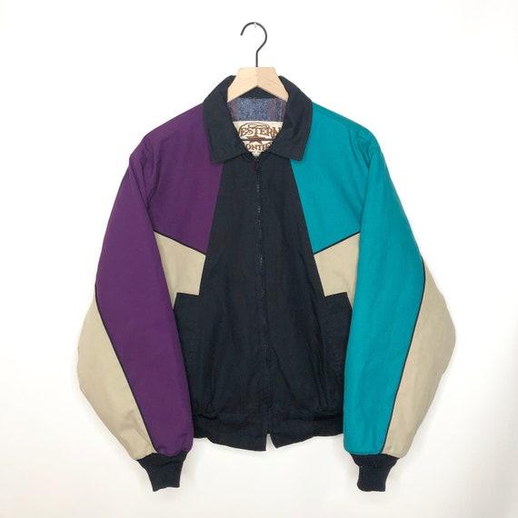 Vintage Western Frontier Jacket 80s Colorblock Can