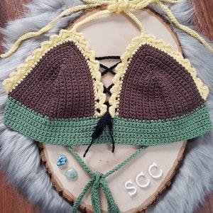 Custom Crochet Skull Halloween Bralette Crop Top