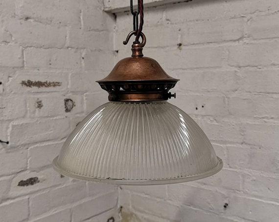 1930s Holophane Glass Pendant Light
