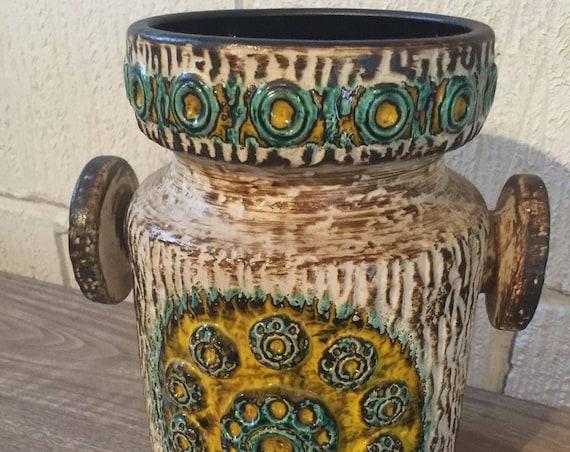 Vintage West German Pottery Dumler & Breiden Saturn Vase Relief Series 90/25 FAT LAVA