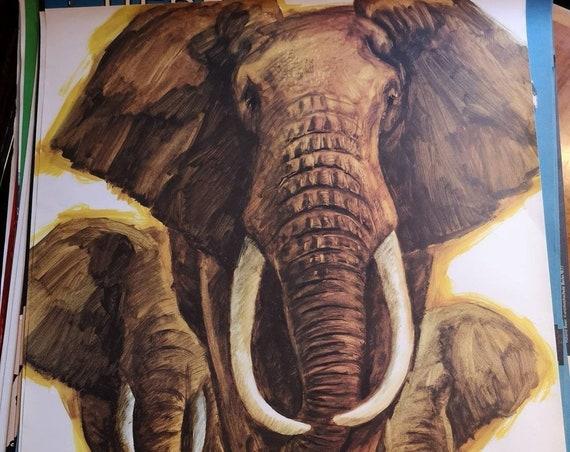 Vintage 1980s Tierpark Berlin Original Zoo Poster Advertising Of Elephants