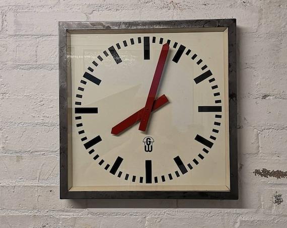 Large 1950's East German Factory Clock By GW Geratewerk Liepzig