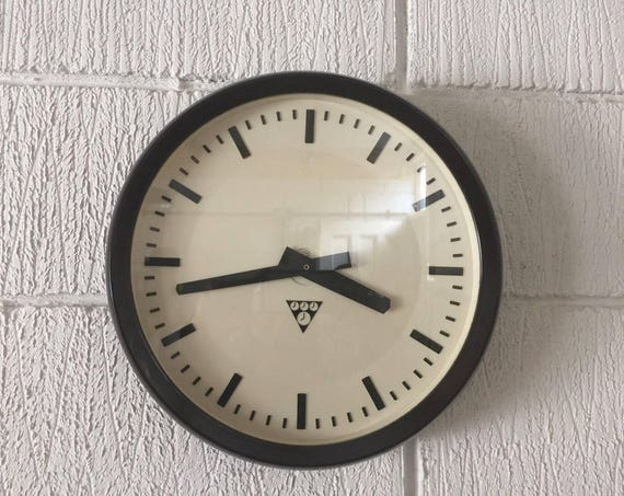 Czech 1960's Bakelite Office / Factory Clocks By Pragotron