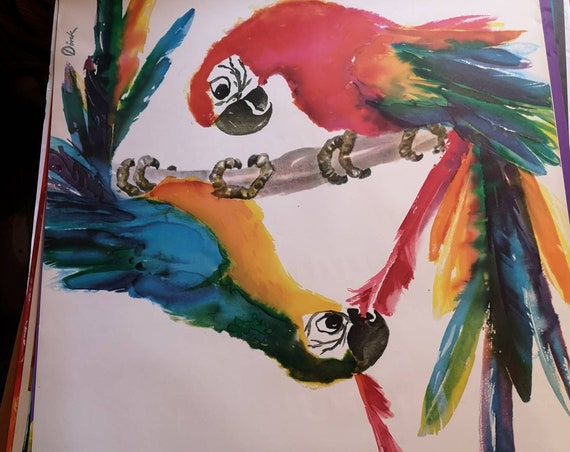 Vintage 1970s Tierpark Berlin Original Zoo Poster Advertising Of A Macaw Parrot