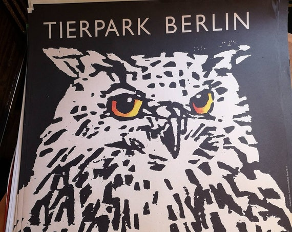 Vintage 1970s Tierpark Berlin Original Zoo Poster Advertising Of An Owl