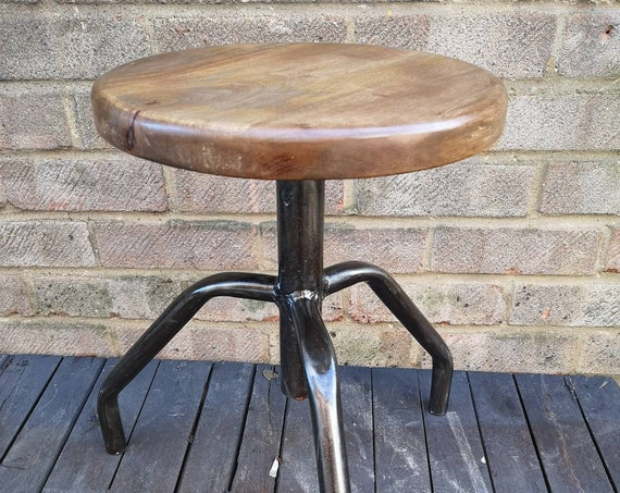 Mid Century Polish Height Adjustable Machinests Stools