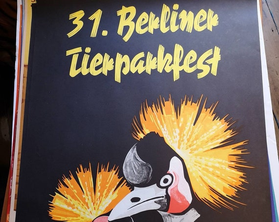 Tierpark Berlin Original Zoo Poster Advertising Of A Crane Celebrating The 31st Berlin Zoo Festival