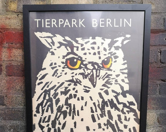 Vintage 1970s Tierpark Berlin Original Framed Zoo Poster Advertising Of An Owl