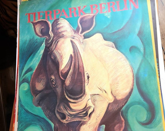 Vintage 1960s Tierpark Berlin Original Zoo Poster Advertising Of A Pair Of A Rhino