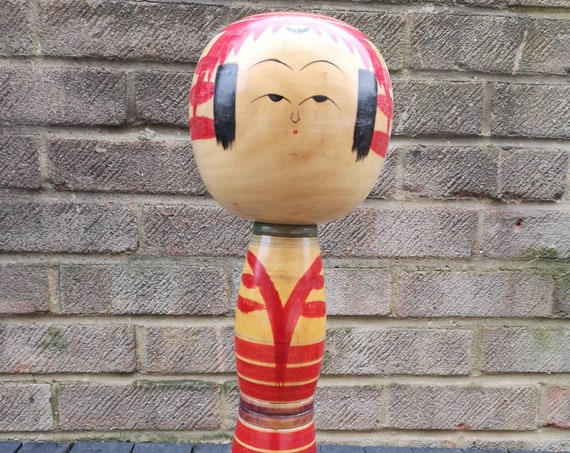Vintage 1950's Kokeshi Japanese Wooden Hand Painted Doll With Removable Head