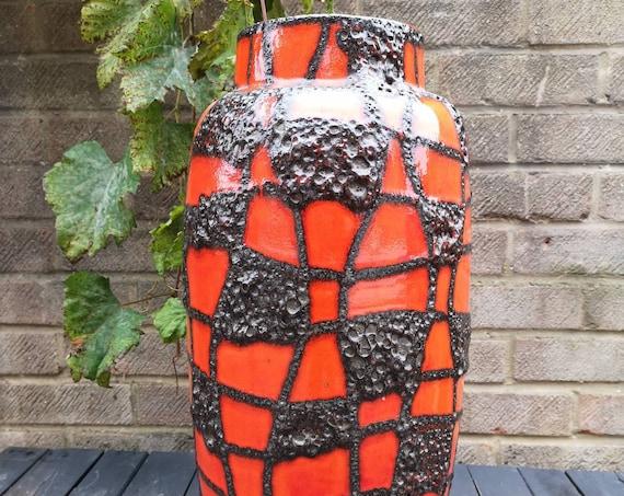 Vintage Large 1960s West German Pottery Fat Lava Floor Vase By Scheurich Keramik 533 - 52