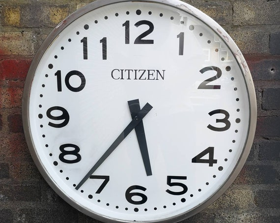 Vintage 1960s Large Japanese Station Clock By Citizen Watch Co