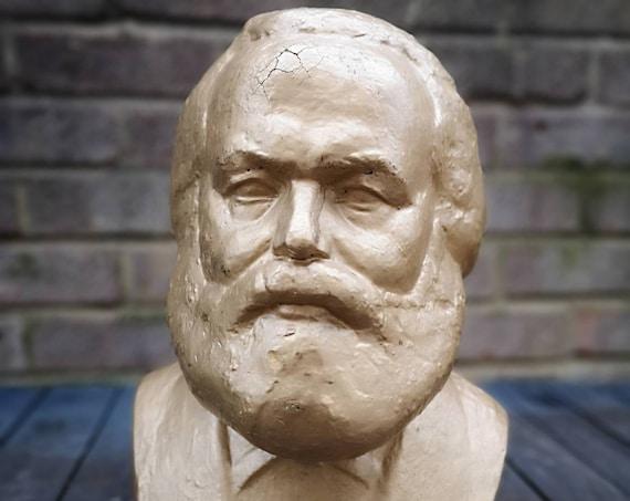 Circa 1960s Hungarian School Plaster Bust Of Karl Marx