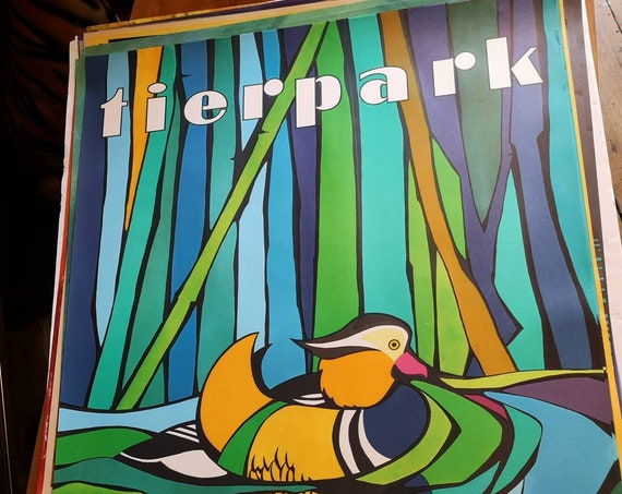 Vintage 1980s Tierpark Berlin Original Zoo Poster Advertising Of A Mandarin Duck