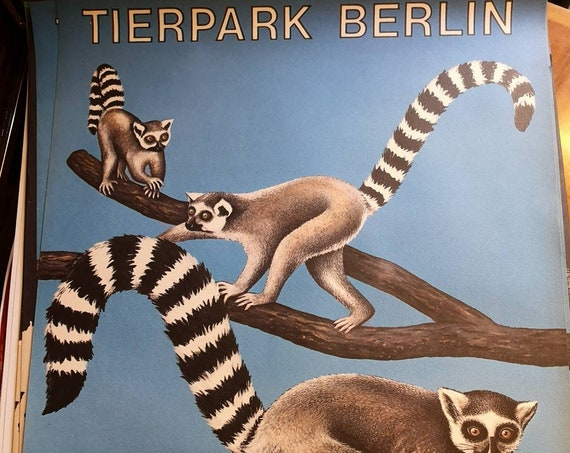 Vintage 1970s Tierpark Berlin Original Zoo Poster Advertising Of Meerkats