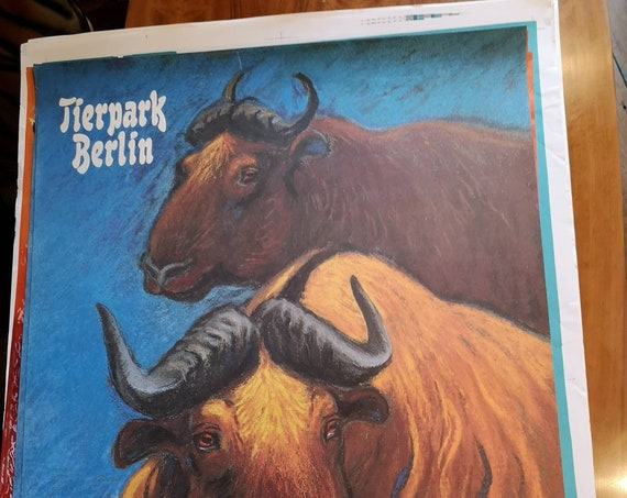 Vintage 1980s Tierpark Berlin Original Zoo Poster Advertising Of A Pair Of Oxen
