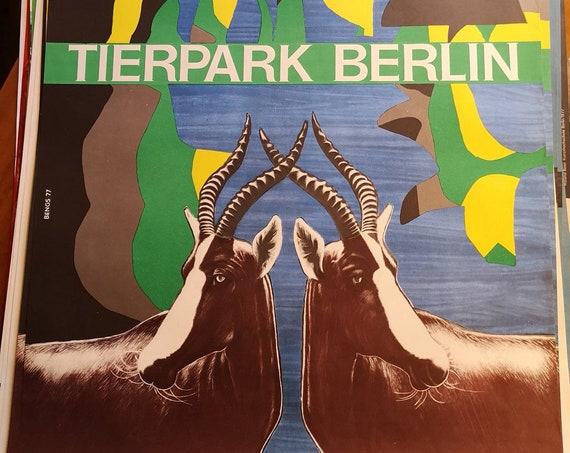 Vintage 1970s Tierpark Berlin Original Zoo Poster Advertising Of An Anteloppe