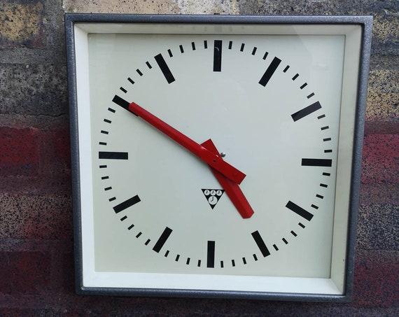 Czech Industrial 1960's Square Factory Clocks By Pragotron