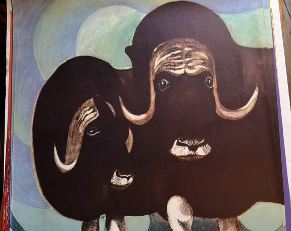 Vintage 1960s Tierpark Berlin Original Zoo Poster Advertising Of A Pair Of Musk Oxen