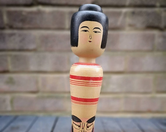 Vintage 1980s Kokeshi Japanese Wooden Hand Painted Doll