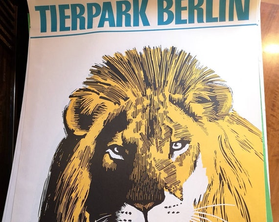 Vintage 1970s Tierpark Berlin Original Zoo Poster Advertising Of A Lion