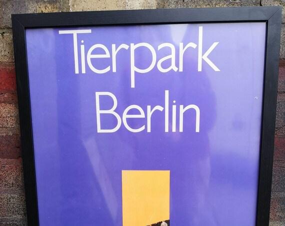 Vintage 1980s Tierpark Berlin Original Framed Zoo Poster Advertising Of A Zebra