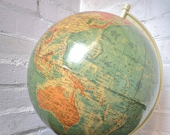 Vintage East German 1960s Physical Earth Globe Lamp By Raths Leipzig