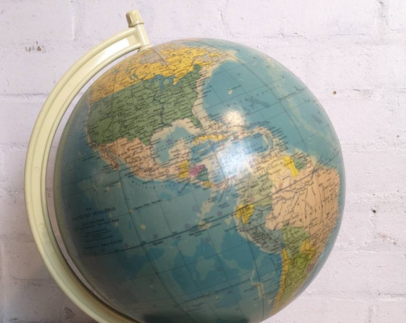 Vintage East German 1950's Physical Earth Globe By Raths Leipzig