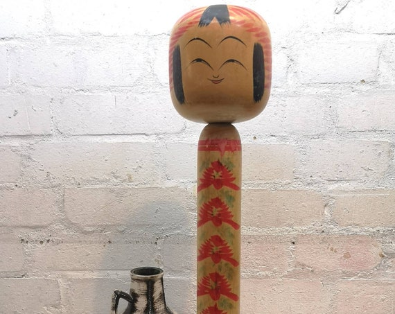 Vintage 1960s Large Kokeshi Japanese Wooden Hand Painted Doll